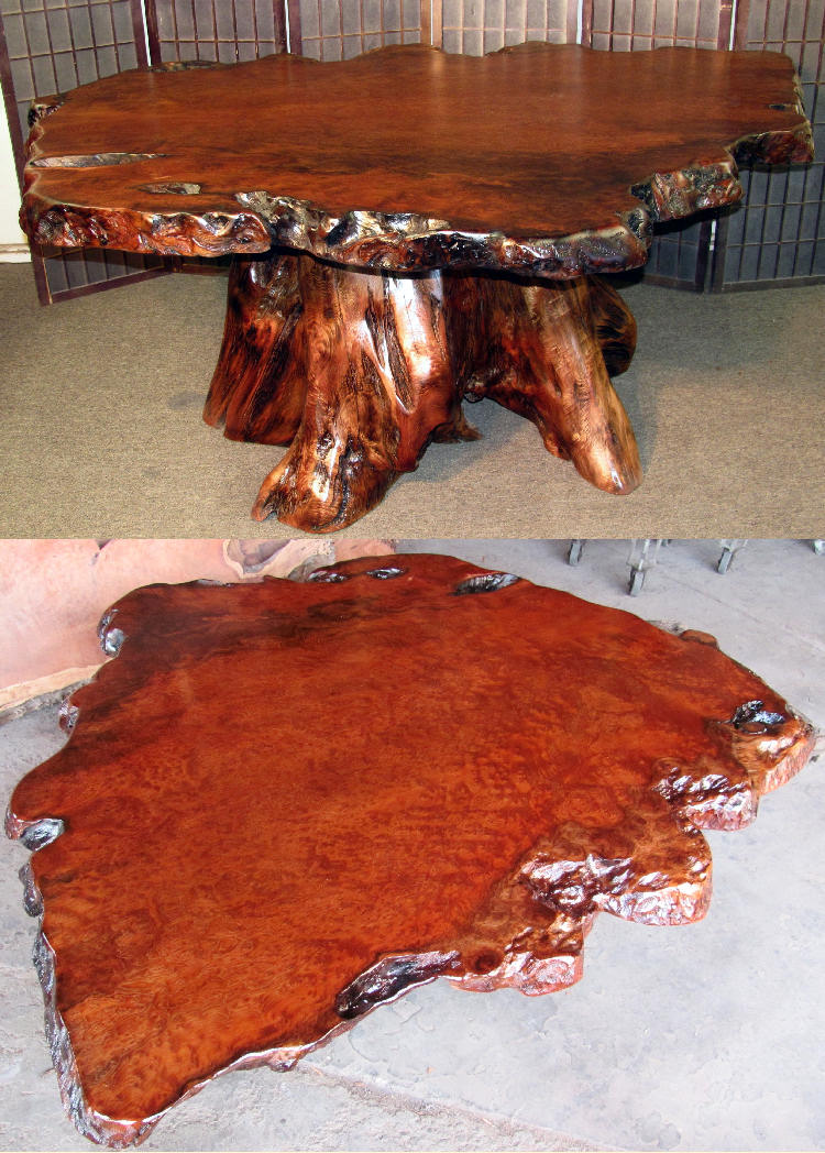 Old-Growth Redwood Burl Table (scroll for top view)